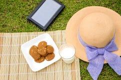 Koppla av i trädgården med kakor, mjölka och minnestavlan. Royaltyfria Bilder