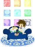 Koppla av på den blåa soffan stock illustrationer