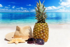 Koppla av på den tropiska stranden Royaltyfri Foto