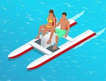 Koppla av på skovelfartyget Par på kallade pedal- fartyget för pedalo det också på en sjö Begrepp för sommartid Isometrisk plan 3 Royaltyfria Bilder