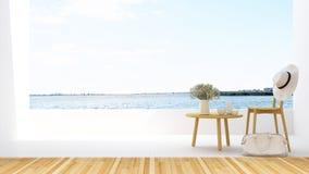 Koppla av på terrass- och sjösikt i hotellet - tolkningen 3D Royaltyfri Foto