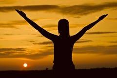 koppla av solnedgången Fotografering för Bildbyråer