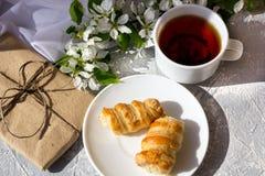Koppla av tid och lycka med kopp te med bland den nya vårblomman royaltyfri bild