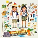 Koppla ihop affärsföretagteckendesignen med den survial symbolssatsen Adventu vektor illustrationer