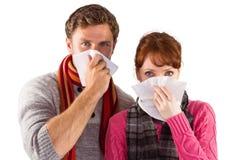 Koppla ihop att blåsa näsor in i silkespapper Royaltyfri Fotografi