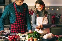 Koppla ihop att fira jul i köket som lagar mat jul, duckar eller gåsen arkivfoton
