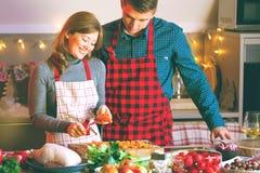 Koppla ihop att fira jul i köket som lagar mat jul, duckar eller gåsen arkivbild