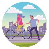 Koppla ihop att ha gyckel på staden stock illustrationer