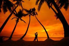 Koppla ihop att kyssa på den tropiska stranden med palmträd med solnedgång in Arkivbild