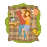 Koppla ihop att ligga på en filt på en picknick i parkera, bästa sikt från över vektor illustrationer