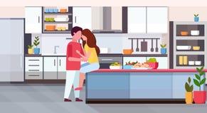 Koppla ihop att omfamna och att kyssa på den lyckliga valentindagen för diskbänken som firar den moderna förälskade kramen för be royaltyfri illustrationer