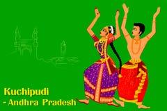 Koppla ihop att utföra Kuchipudi den klassiska dansen av Punjab, Indien royaltyfri illustrationer