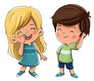 Koppla ihop av barnvänner eller bröder royaltyfri illustrationer