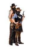 Koppla ihop av beväpnade rånarear Arkivfoton