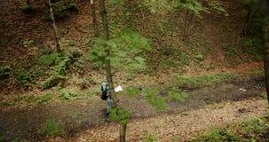 Koppla ihop av fotvandrare som går i Forest High Angle View stock video