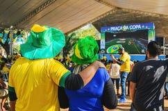 Koppla ihop bärande gräsplan och gulna hålla ögonen på en match av världscuen Arkivfoto