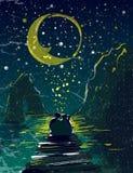 Koppla ihop det förälskade innehavet under stjärnklara den himmelberg och månen på illustration för vektor för pir för havssida royaltyfri illustrationer