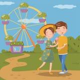 Koppla ihop förälskat krama, medan gå, den lyckliga unga mannen, och kvinnan framme av ferris rullar in nöjesfältvektorn Royaltyfri Foto