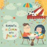 Koppla ihop förälskat på ett datum i kafét vektor illustrationer