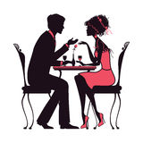 Koppla ihop förälskat sammanträde i en versio för rosa färger för kafévektorillustration Royaltyfri Illustrationer