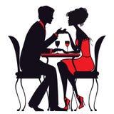 Koppla ihop förälskat sammanträde på en tabell i ett kafé Vektor Illustrationer
