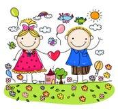 Koppla ihop förälskat tillsammans, valentin skissar för din design Fotografering för Bildbyråer