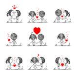 Koppla ihop förälskat tillsammans, valentin skissar för ditt Arkivfoton