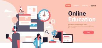 Koppla ihop genom att använda utrymme för kopian för banret för den online-utbildning för begreppet för grejanalysför mannen för  royaltyfri illustrationer