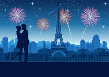 Koppla ihop kramen tillsammans nära torntaköverkant omkring med skyskrapan nära Eiffeltorn i Paris, konturstil stock illustrationer