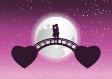 Koppla ihop kramen tillsammans och att kyssa på bron den sammanlänkning mellan flugahjärtaform, sammanlänkning för förälskelse fö vektor illustrationer