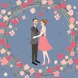 Koppla ihop maken och frun för illustration för tecken för bröllopbrudgrom med blomman Royaltyfria Foton