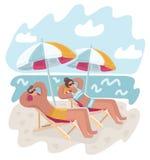 Koppla ihop mannen och kvinnan som vilar på stranden stock illustrationer