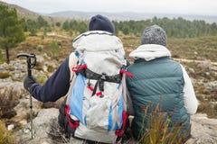 Koppla ihop med ryggsäcken och den trekking polen på en vandring royaltyfri fotografi