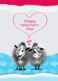 Koppla ihop mest gullig får, valentins design för dagkort Royaltyfri Fotografi
