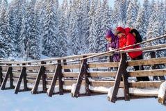 Koppla ihop på en upphängningbro i vinter royaltyfria foton
