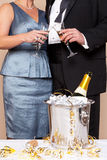 Koppla ihop rörs exponeringsglas för en champagnerostat bröd arkivbild