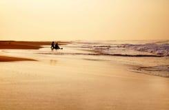 Koppla ihop sammanträde på havet som håller ögonen på solnedgången royaltyfri foto
