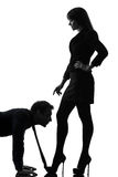 Koppla ihop silhouetten för begreppet för kvinnaseductressbindningen Royaltyfri Bild