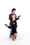 Koppla ihop silhouetten för brottslingen för medlet för kvinnamanen den detektiv- hemliga Arkivfoto