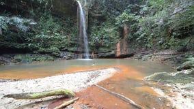 Koppla ihop simning in i mångfärgad naturlig pöl med den sceniska vattenfallet i rainforesten av Lambir kullar nationalparken, Bo arkivfilmer