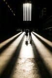 Koppla ihop ställningen i ljus av främre fönster av turbinen Hall av Tate Modern, London Royaltyfri Fotografi