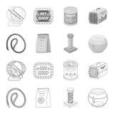 Koppla, matning och andra zoolagerprodukter Älsklings- shoppa fastställda samlingssymboler i översikten, monokromt materiel för s royaltyfri illustrationer