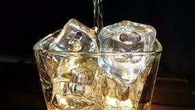 Kopplar av hällande whisky för bartendern i exponeringsglaset med iskuber på den wood tabellen och mörk bakgrund för svart, fokus stock video