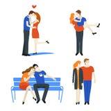 Kopplar ihop den förälskade uppsättningen Folk som kramar och kysser på vit bakgrund vektor illustrationer