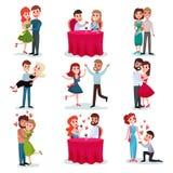 Kopplar ihop den förälskade uppsättningen, lyckliga vänner på datum, på den romantiska matställen som kramar och dansar tecknad f royaltyfri illustrationer
