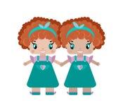 kopplar samman av händer för en flickahåll, två systrar är lite gulliga flickor vektor illustrationer