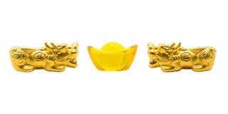 Kopplar samman guld Pixiu och forntida kinesiska pengar för gul exponeringsglasyuanbao royaltyfria bilder