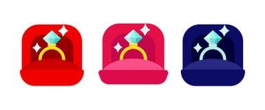 Koppling Diamond Golden Rings i röda, rosa och blåa Ring Boxes Set royaltyfri illustrationer