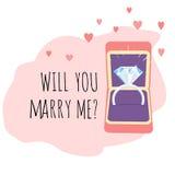 Kopplingskort Ask med Diamond Ring Att gifta sig du mig? royaltyfri illustrationer
