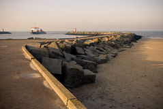 Koppus. The harbour of Scheveningen at sunset Royalty Free Stock Image